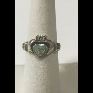 Sterling Silver & White Opal Claddagh Ring